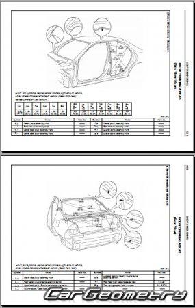 Геометрические размеры кузова Lexus ES 300 1997–2001 (XV20