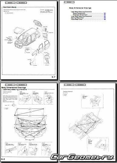 Размеры Honda Odyssey 1995-1998 Body Repair Manual