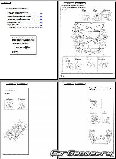 Размеры кузова Honda CR-V 1995-2001 Body Repair Manual