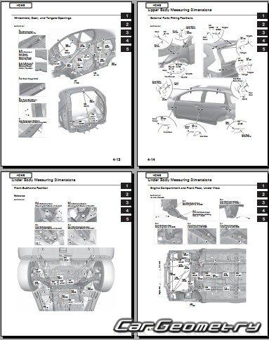 Кузовные размеры Honda CR-V 2012-2018 Body Repair Manual