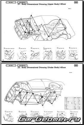 Размеры кузова Honda Civic 1988-1991 (Hatchback, Sedan