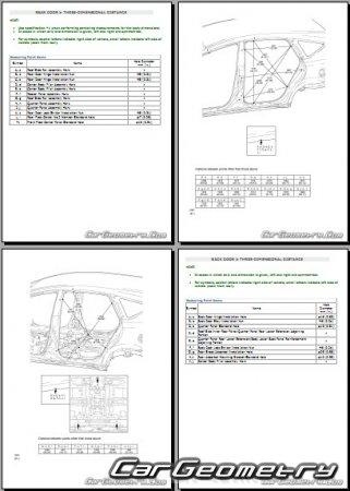 Контрольные размеры кузова Тойота Приус+ с 2012 (ZVW40)