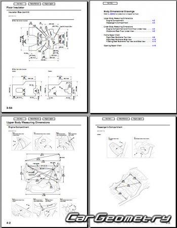 Кузовные размеры Honda Accord sedan (CS) и Coupe (CM) 2003–2006 Body Repair Manual