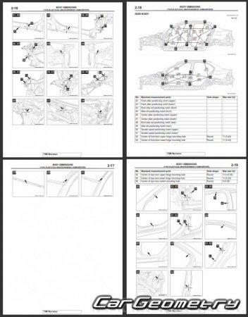 Контрольные размеры кузова Mitsubishi Lancer Evolution X