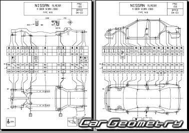 Контрольные размеры кузова Nissan Almera (N16) 2000–2006