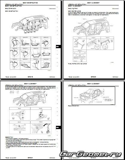 Контрольные размеры кузова Nissan Xterra (N50) 2008-2020