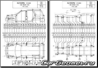 Геометрические размеры кузова Nissan Xterra (WD22) 1999