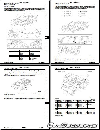 Кузовные размеры Infiniti G35 (V36) 2006–2010 Body Repair