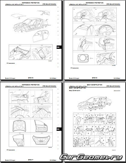 Геометрические размеры кузова Infiniti G37/G25, Nissan