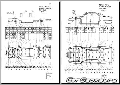 Кузовные размеры Toyota Vista (SV4#, CV4#) 1994–1998 Body
