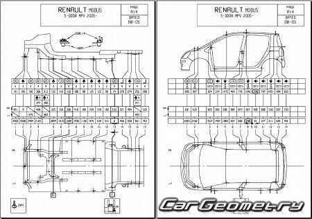 Кузовные размеры Renault Modus 2004–2013 Body dimensions