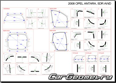 Кузовные размеры Opel Antara 2007–2013 Body dimensions