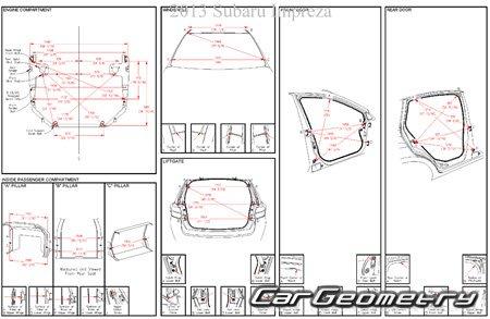 Кузовные размеры Subaru Impreza Sedan (GJ) и Hatchback (GP