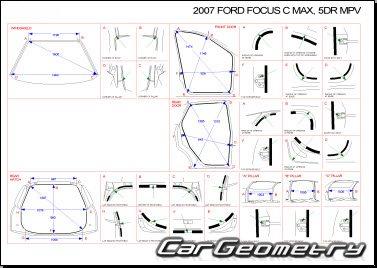Кузовные размеры Ford C-MAX 2004–2010 Body Repair Manual