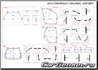 Chevrolet Orlando с 2010 Body dimensions