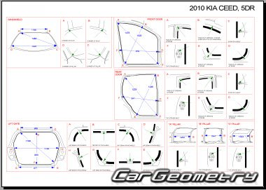 Кузовные размеры Kia cee'd (ED) 2009–2012