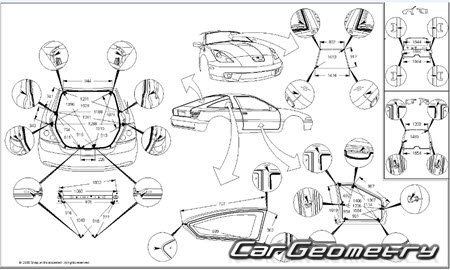 Размеры кузова Scion tC (ANT10) 2005–2010 Collision Repair