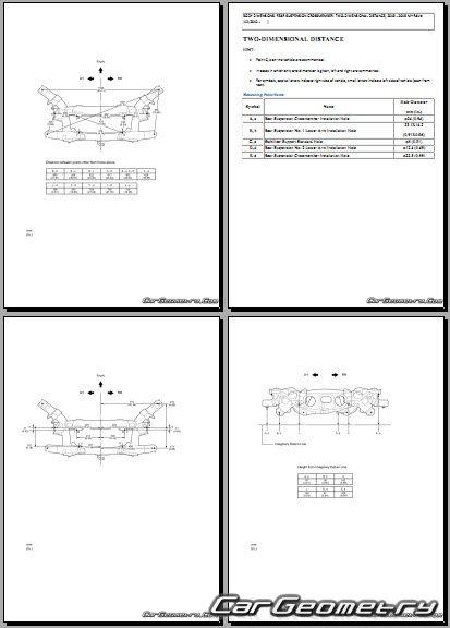 Кузовные размеры Toyota RAV4 с 2013 Collision Repair Manual