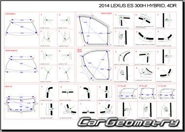 Геометрические размеры кузова Lexus ES300h 2012-2016