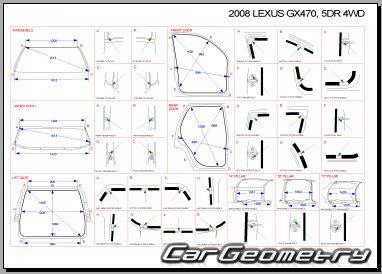 Кузовные размеры Lexus GX470 (UZJ120) 2002–2009 Collision