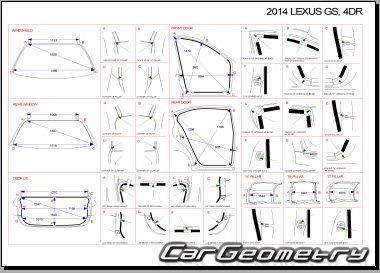 Размеры кузова Lexus GS250, GS350 с 2012 (GRL10, GRL11, GRL15)