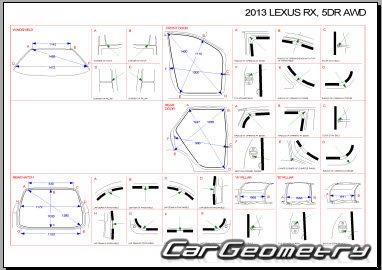 Контрольные размеры кузова Lexus RX350, RX270 2009–2015