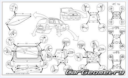 Контрольные размеры кузова Lexus RX350, RX330, RX300 2000