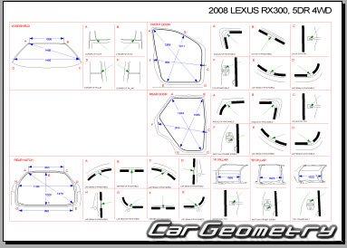 Кузовные размеры Lexus RX350/330/300 (GSU35, MCU35, MCU38