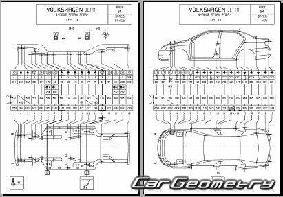 Кузовные размеры Фольксваген Джетта (Typ 1K) 2005–2010