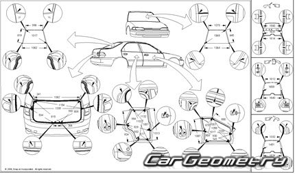 Геометрические размеры кузова Lexus IS F 2007-2014 (XE20