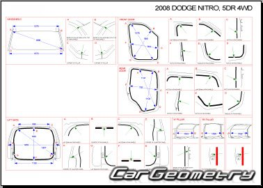 Кузовные размеры Dodge Nitro 2007-2011 Collision Repair Manual