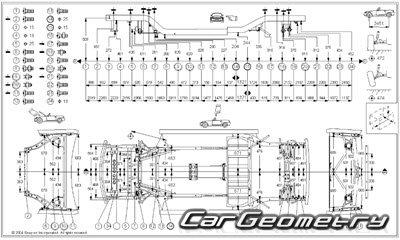 Размеры кузова Toyota MR-S/MR2 1999–2007 (ZZW30) Collision