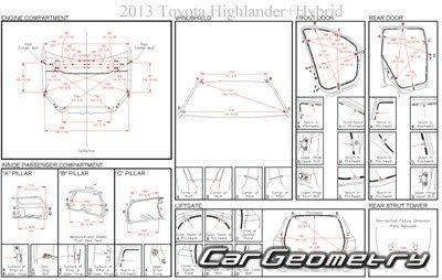 Кузовные размеры Toyota Highlander Hybrid (MHU48) 2008-2013