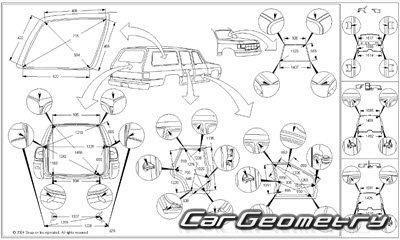 Контрольные размеры кузова Toyota RAV4 с 1994-2000 (SX10