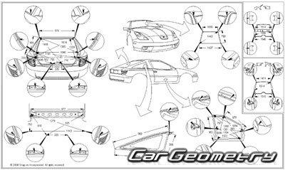 Геометрические размеры кузова Toyota Celica 1999-2005
