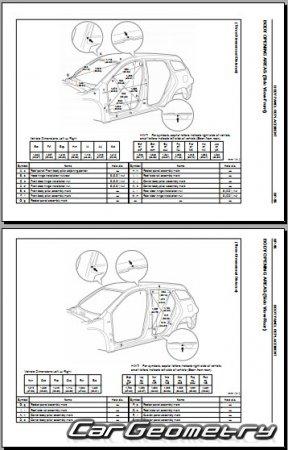 Кузовные размеры Toyota Matrix 2003-2008 (ZZE132, ZZE133