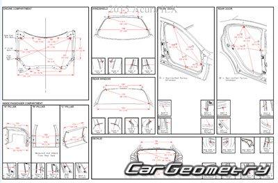 Контрольные размеры кузова Acura ILX с 2012 Body Repair Manual