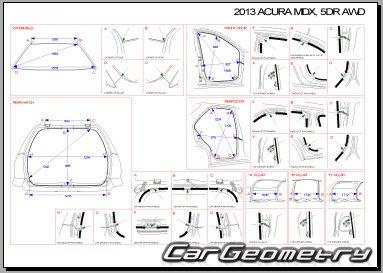 Кузовные размеры Acura MDX (YD2) 2010–2013 Body Repair Manual