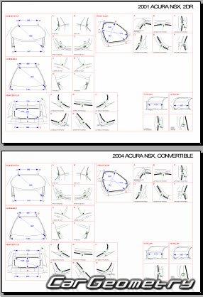 Контрольные размеры кузова Honda NSX и Acura NSX 1995–2005