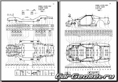 Кузовные размеры Honda NSX (NA1) и Acura NSX 1990–1994