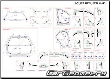 Контрольные размеры кузова Acura RDX 2007–2010 Body Repair