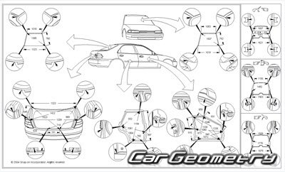 Кузовные размеры Acura 3.2TL 1999-2003 Body Repair Manual