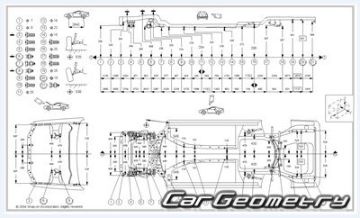 Геометрические размеры кузова Acura 2.5TL 3.2TL 1995-1998