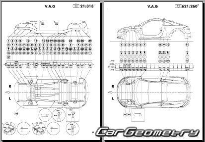 Кузовные размеры Audi TT (8S) 2015-2021 Coupe Body dimensions