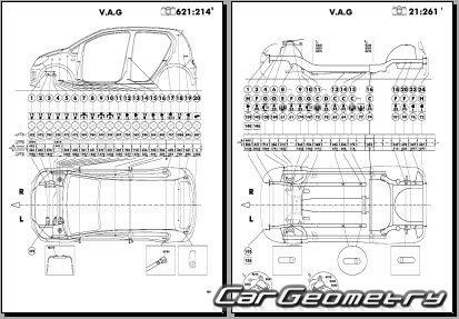 Volkswagen Up! (121) 2012-2018 Body dimensions