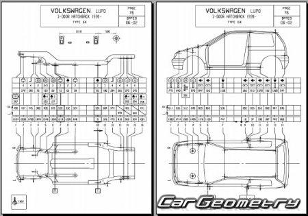 Кузовные размеры Volkswagen Lupo (Typ 6X) 1998–2005 Body