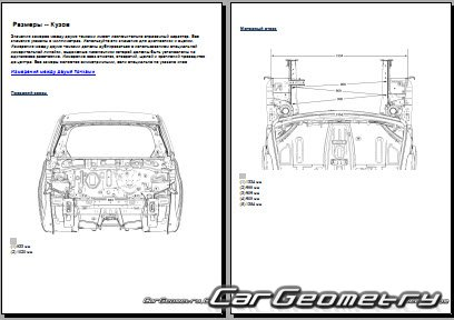 Геометрия кузова Chevrolet Spark (M300) 2010-2015