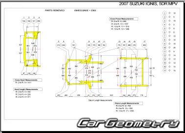 Кузовные размеры Suzuki Ignis (Subaru G3X Justy, Chevrolet