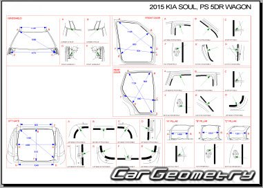 кузовные размеры Kia Soul (PS) с 2014 Body Repair Manual