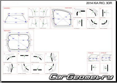 Размеры кузова Kia Rio 3-door (UB) 2011-2016 Hatchback